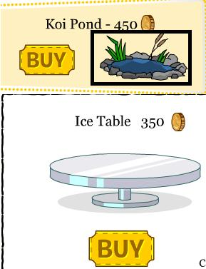 Club penguin march april furniture catalog cheats club for Koi pool table